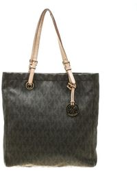 ed6381e3ac48 Michael Kors - Michael Brown Signature Coated Canvas North South Tote - Lyst