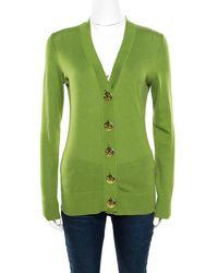 Tory Burch - Lemon Green Cotton Button Front Simone Cardigan Xs - Lyst