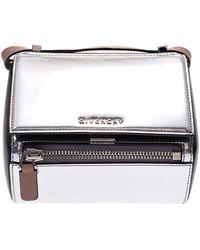 Givenchy Silver Leather Mini Pandora Box Crossbody Bag - Metallic