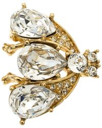 Dior - Christian Iconic Bee Crystal Embellished Tone Pin Brooch - Lyst