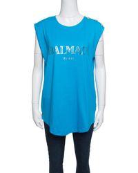 b0fb6185248343 Balmain - Cotton Shoulder Logo Button Detail Sleeveless T-shirt L - Lyst
