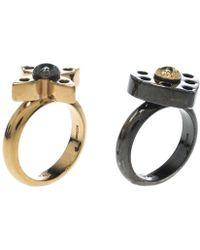 Louis Vuitton - Love Letters Black/ Tone Ring Set - Lyst