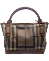 Burberry - Brown Smoke Check Pvc And Leather Tote - Lyst