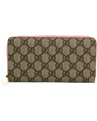 7c976d35fac8 Gucci - Pink/beige GG Supreme Coated Canvas Zip Around Wallet - Lyst