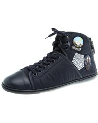 a5f0c1c8379 Louis Vuitton - Dark Fabric And Leather V Gaston High Top Sneakers - Lyst