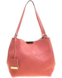 be0d91207281 Burberry - Pink Embossed Leather Canterbury Tote With Pouch - Lyst