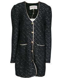 Emilio Pucci - Black Wool Lurex Knit Detail Coat Xl - Lyst