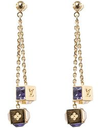 Louis Vuitton - Gamble Crystal Tone Long Earrings - Lyst