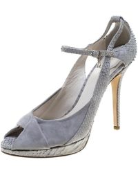 Dior - Python Embossed Leather And Suede Twist Jeanne Peep Toe Ankle Strap Sandals - Lyst