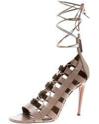 Aquazzura - Beige Leather Amazon Lace Up Open Toe Sandals Size 39.5 - Lyst