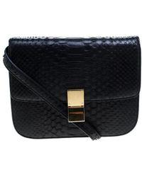 Céline - Python Medium Classic Box Shoulder Bag - Lyst