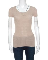 Chanel - Perforated Rib Knit Logo Applique Detail Fitted Top S - Lyst