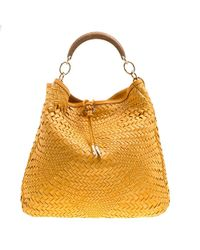 Ferragamo - Mustard Leather Ceyla Braided Top Handle Bag - Lyst