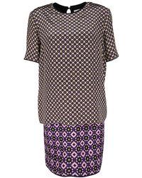 Victoria, Victoria Beckham - Printed Silk And Jacquard Short Sleeve Dress M - Lyst