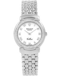 Rolex White 18k White Gold 2-row Diamond Cellini Cellissima 6671 Women's Wristwatch 26mm