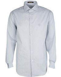 Roberto Cavalli - Monochrome Striped Cotton Long Sleeve Slim Fit Shirt 3xl - Lyst