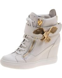 Giuseppe Zanotti - Leather Eagle Embellished Wedge High Top Sneakers - Lyst