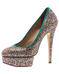 Charlotte Olympia - Silver Glitter Priscilla Platform Court Shoes Size 39.5 - Lyst