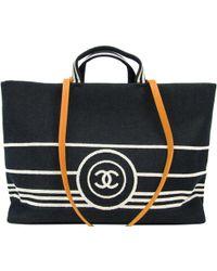 Chanel - Two Tone Denim Cc Deauville Tote - Lyst