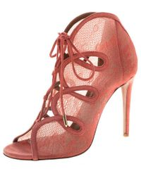 Aquazzura - Lace And Suede French Kiss Lace Up Ankle Boots - Lyst