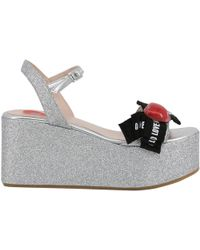 Moschino - Love Gray Glitter Fabric Ankle Strap Platform Wedge Sandals Size 41 - Lyst