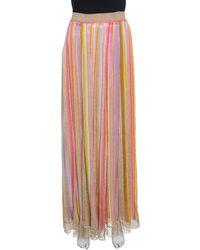 Missoni - Striped Perforated Lurex Knit Maxi Skirt L - Lyst