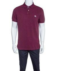 ffcd8e333 Burberry - Brit Burgundy Honeycomb Knit Novacheck Placket Detail Polo T- shirt L - Lyst