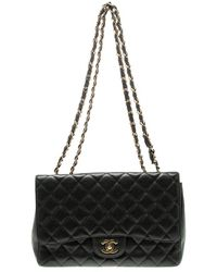 Chanel - Quilted Caviar Leather Jumbo Classic Single Flap Bag - Lyst