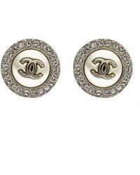 Chanel - Cc Faux Pearl Crystal Round Stud Earrings - Lyst