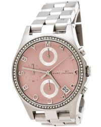 Marc By Marc Jacobs Pink Stainless Steel Crystal Henry Chronograph R258296 Women's Wristwatch 36 Mm