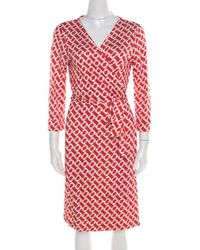 85171d2959b Diane von Furstenberg - Red And White Printed Silk Jersey New Julian Two  Wrap Dress L