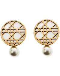 Dior - Cannage Faux Pearl Gold Tone Clip-on Stud Earrings - Lyst
