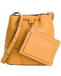 MICHAEL Michael Kors - Mustard Pebbled Leather Cary Bucket Shoulder Bag - Lyst