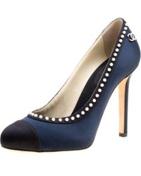 Chanel - Two Tone Pearl Trimmed Satin Cap Toe Pumps - Lyst