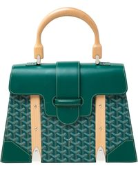 Goyard Green Coated Canvas And Leather Mm Saigon Top Handle Bag