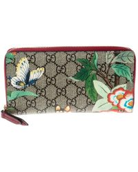77a2079187c Lyst - Gucci Blooms Gg Supreme Coated-canvas Wallet in Pink