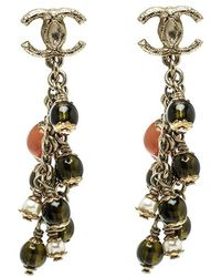 Chanel - Cc Ed Bead Gold Tone Clip-on Dangle Earrings - Lyst