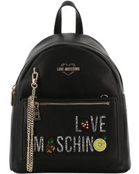 Moschino - Love Black Faux Leather Chain Backpack Bag - Lyst