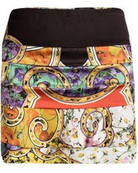 Roberto Cavalli - Floral Printed Silk Tiered Mini Skirt S - Lyst