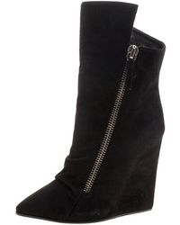 Giuseppe Zanotti - Suede Wedge Ankle Boots - Lyst