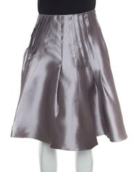 Dior - Silk Satin Pleated High Waist Skirt M - Lyst