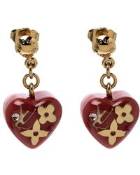 Louis Vuitton - Pomme D'amour Monogram Inclusion Heart Drop Earrings - Lyst