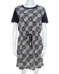 Louis Vuitton Navy Blue Jersey And Silk Printed Monogram Dress M