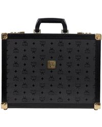 MCM - Black Canvas And Leather Attache Briefcase - Lyst