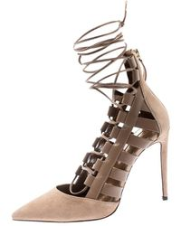 Aquazzura Beige Suede And Leather Belgravia Lace Up Pointed Toe Court Shoes 37