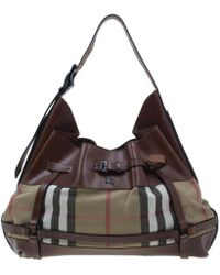 495492407acd Lyst - Burberry Medium Bridle House Check Tote Bag in Brown