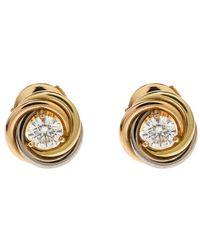 Cartier - Trinity De Diamond 18k Three Tone Gold Stud Earrings - Lyst