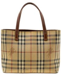 3703a784505c Burberry - Brown Haymarket Check Coated Canvas Mini Tote - Lyst