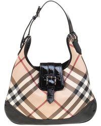 4155aebf0656 Burberry - Black beige Nova Check Pvc And Patent Leather Brooke Hobo - Lyst