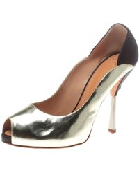 1a6204dd118 Lyst - Giuseppe Zanotti Python Embossed Leather Peep Toe Pumps in ...